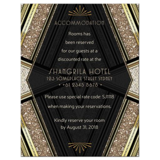 ArtDeco Black Gold Glitter Wedding Guest Accommodation Info