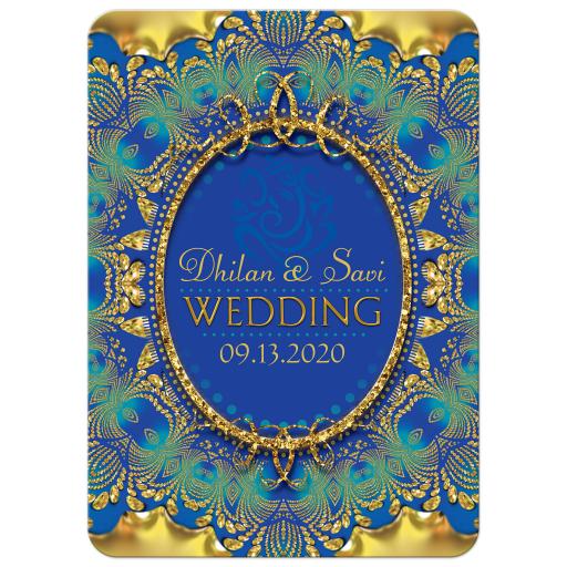 Glitter Gold & Blue Ganesha Wedding Invitation
