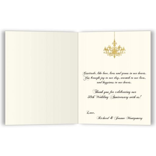 ​Personalized black, Ivory and gold foil striped 50th wedding anniversary thank you card with formal gold chandelier.