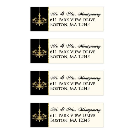 Personalized ivory, black and gold foil formal chandelier 50th wedding anniversary return address mailing labels.