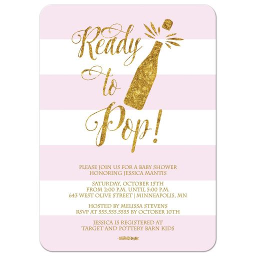 Ready to pop blush pink and gold baby shower invitation