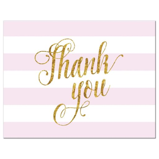 Pink and gold glitter thank you postcards