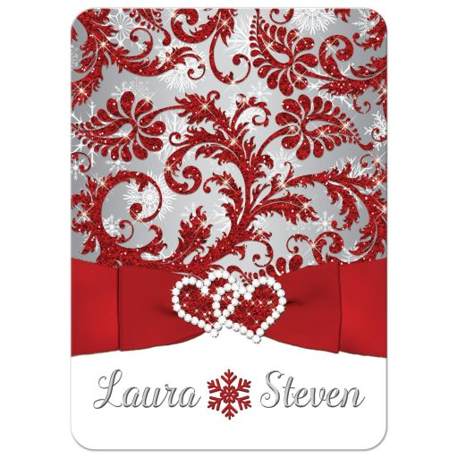 Winter wonderland wedding invitation in red, silver gray, and white snowflakes