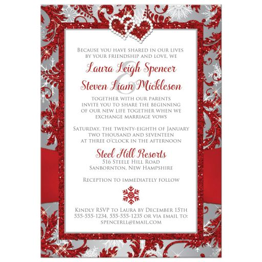 Affordable red, silver grey, and white snowflakes wedding invites with ribbon and jewelled joined hearts