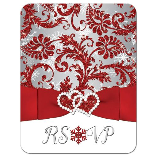 Winter wonderland wedding response RSVP reply enclosure card in red, silver grey, and white snowflakes with ribbon and joined jewel and glitter hearts.