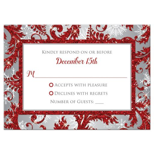 Winter wonderland wedding response RSVP reply enclosure card in red glitter floral damask pattern on silver grey background with white snowflakes.