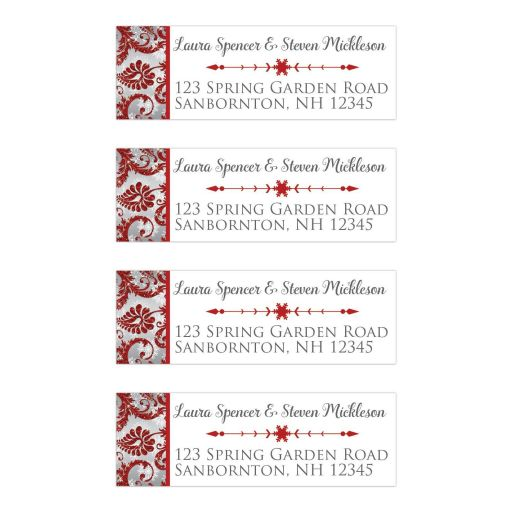 ​Personalized red, silver grey floral FAUX glitter damask pattern address mailing labels with assorted white snowflakes on them.