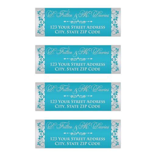 ​Personalized wedding return address mailing labels in silver gray with aqua blue and turquoise flowers and silver ornate scroll ornament.