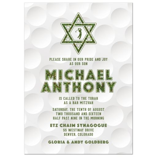 Golfing Golf Bar Mitzvah Invitation