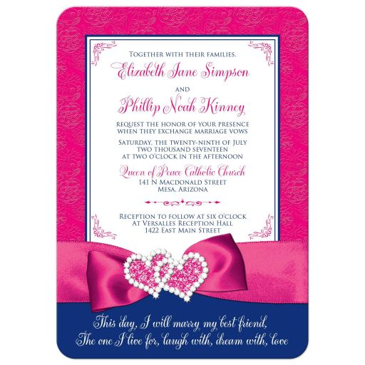 Royal blue, pink, and white floral pattern wedding invitations with ribbon, glitter and a pair of jewelled double joined hearts buckle brooch on it.