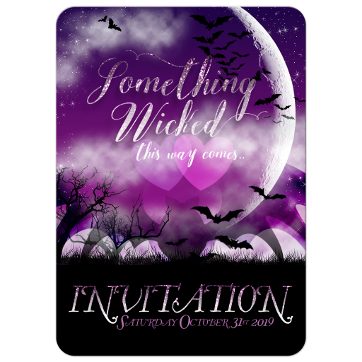 Something Wicked Halloween Bats & Full Moon invitation