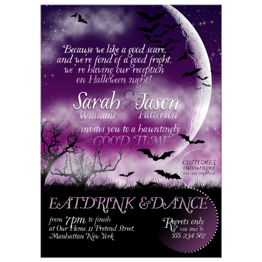 Wicked Fun Halloween Wedding Invitation Moon Bats