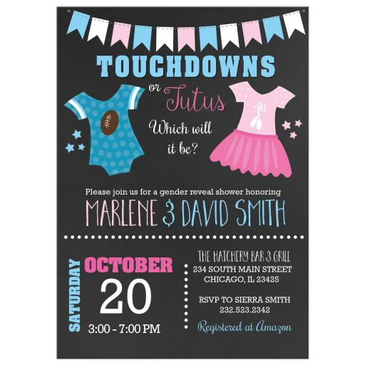 Touchdowns or Tutus Gender Reveal Baby Shower Invitations