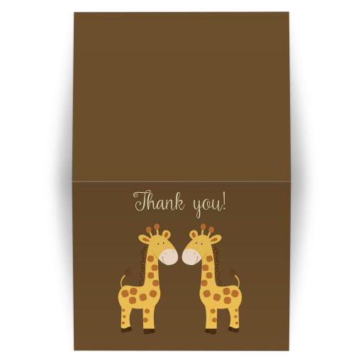 Twins Baby Shower Giraffe Folded Thank you note