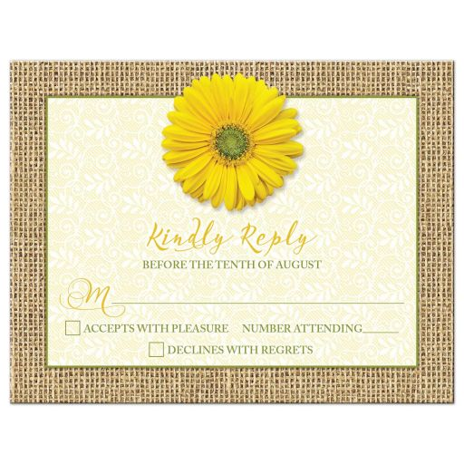 Rustic yellow gerbera daisy, burlap, and lace wedding RSVP card front