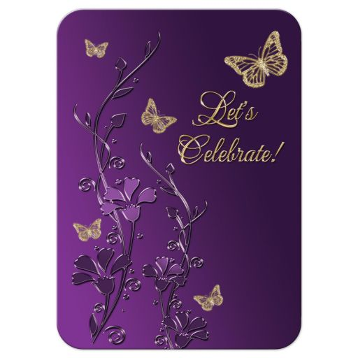 Purple and gold floral Bat Mitzvah reception card or enclosure card with gold butterflies on it.