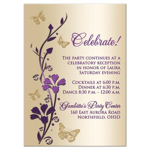 Purple and gold floral Bat Mitzvah party card or enclosure card with gold butterflies on it.