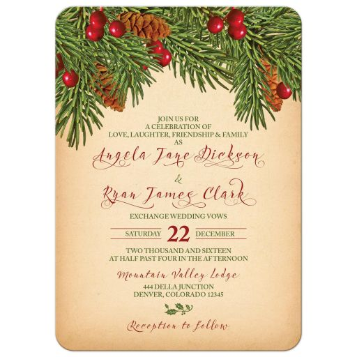 Traditional vintage evergreen branches, pine cones and holly berries Christmas wedding invitation front