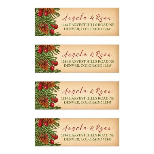 Traditional vintage evergreen branches, pine cones and holly berries Christmas address labels