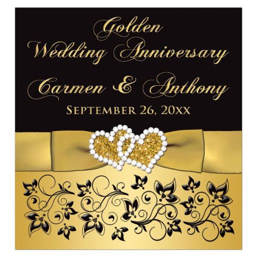 ​50th wedding anniversary wine or beverage bottle label with joined jewel and glitter hearts, gold ribbon, bow, scrolls, and flowers on a black and gold background.