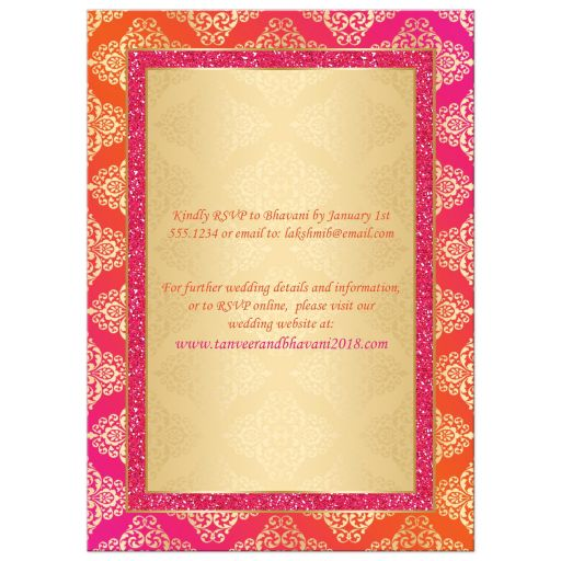 Affordable Indian or Hindu wedding invite in hot fuchsia pink, orange and gold damask pattern with glitter and ornate scroll.