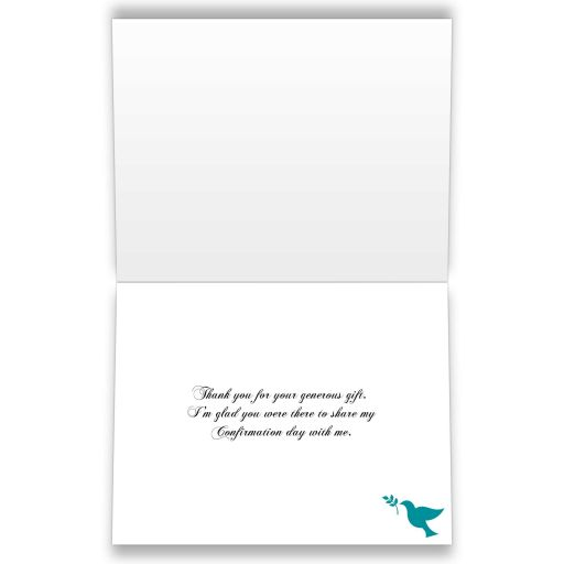 Best teal, black and white damask confirmation, first communion, baptism thank you card with a printed ribbon, bow, jeweled brooch with silver cross and a teal dove.