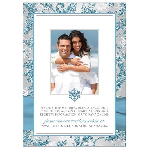 Affordable blue, silver grey and white snowflakes floral damask wedding invite with crystal brooch and ribbon