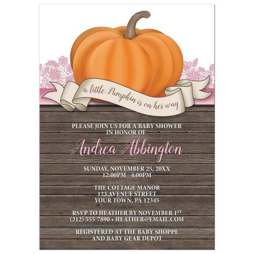 Baby Shower Invitations - Rustic Pumpkin Orange Pink and Wood