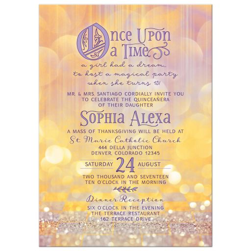 Magical ballroom fairy tale once upon a time Quinceañera birthday invitation front