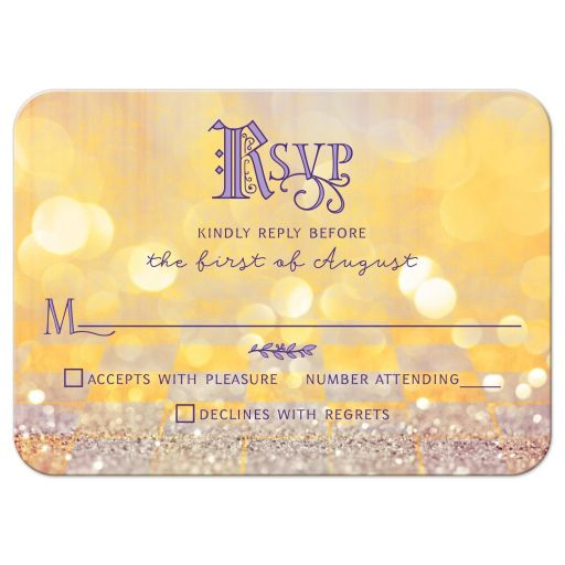 Magical ballroom fairy tale once upon a time Quinceañera birthday RSVP card front