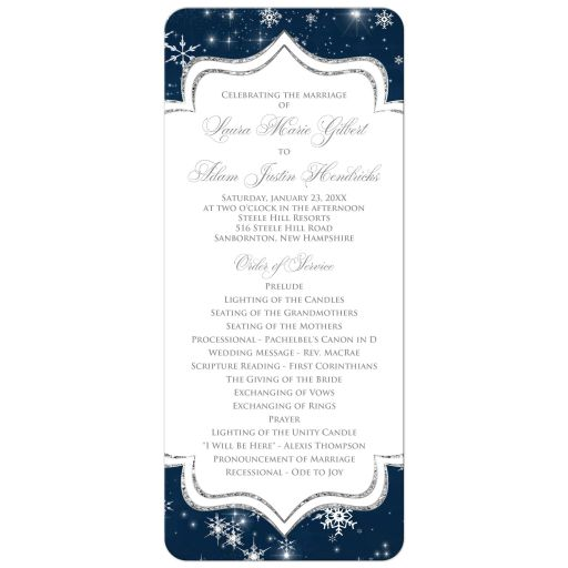 Navy blue, white, silver grey glitter and snowflakes winter wedding program card.