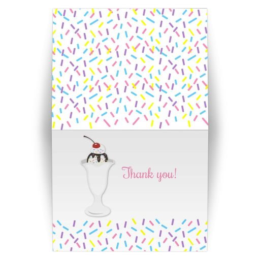 Sundae Baby Sprinkle Baby Shower Folded Thank you note