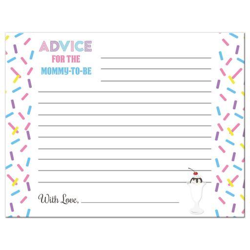 Ice Cream Sundae Baby Sprinkle Advice Card