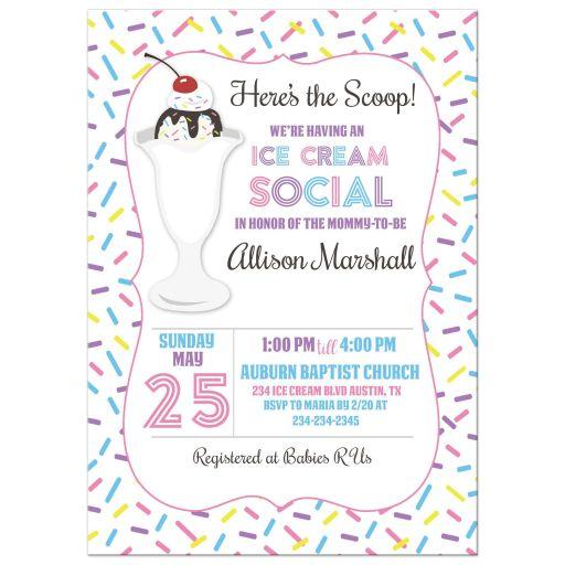 Ice Cream Social Baby Shower Invitation