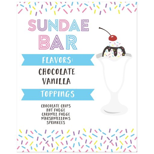 Ice Cream Social Customized Flavors Sign