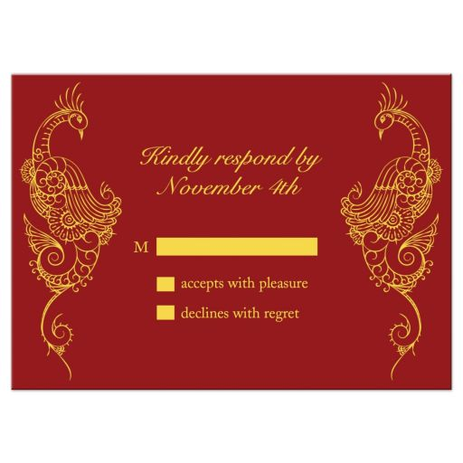 Red Peacock Wedding RSVP