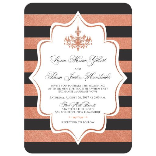 ​Grey, white and copper foil striped wedding invitation with formal ballroom chandelier.