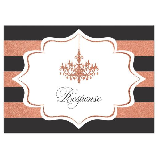 ​Charcoal grey, white and copper foil striped wedding enclosure RSVP reply response card insert with formal ballroom chandelier.