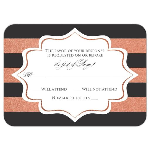 ​Charcoal gray, white and copper foil striped wedding enclosure RSVP reply response card insert with formal ballroom chandelier.