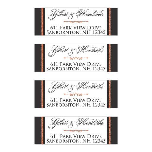 personalized return address labels faux copper foil scroll