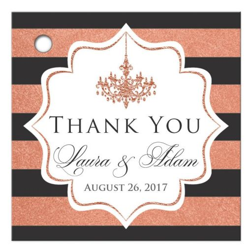 Personalized charcoal gray, white and copper foil striped wedding favor tag with customizable thank you message, names of bride and groom with their wedding date and a formal ballroom chandelier.