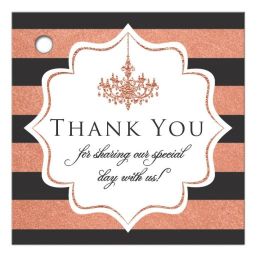 Charcoal gray, white and copper foil striped wedding favor tag with thank you message and a formal ballroom chandelier.