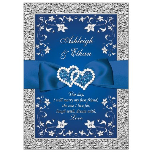 Royal blue and silver grey floral wedding invitation with joined jewel hearts and ribbon.