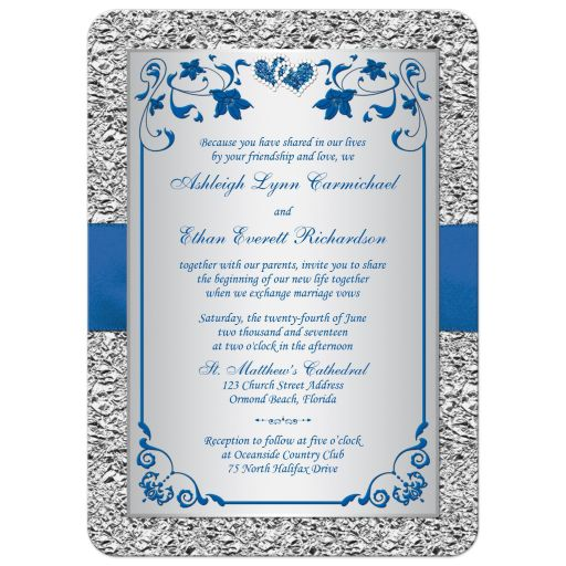 Royal blue and silver gray floral wedding invitation with double jeweled hearts and ribbon.