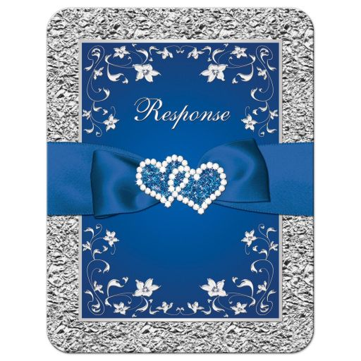 Royal blue and silver grey floral wedding response RSVP reply enclosure card insert with joined jewel hearts, ribbon, and bow.