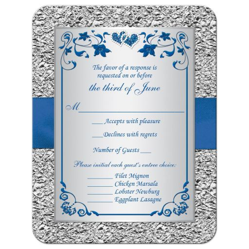 Royal blue and silver gray floral wedding response RSVP enclosure card insert with joined jeweled hearts, ribbon, and bow.
