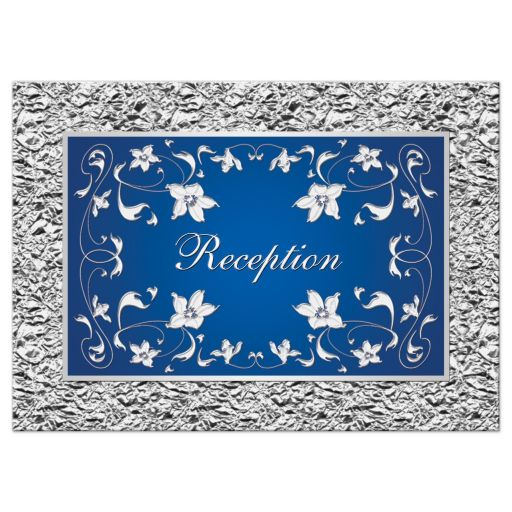 Royal blue and silver grey floral wedding reception enclosure card insert.