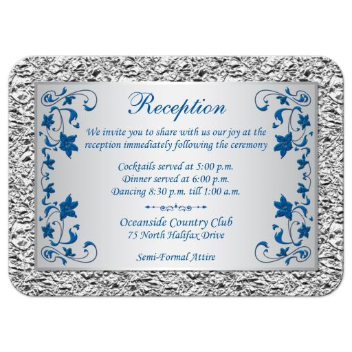 Royal blue and silver gray floral wedding reception enclosure card insert.