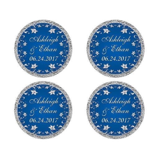 Personalized royal blue and silver grey foil look wedding envelope seals.