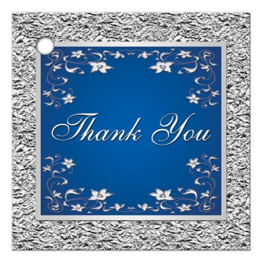 Royal blue and silver gray floral wedding favor thank you tag.